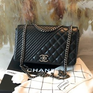 Chanel Black Coco Boy Dual Quilt Medium Flap Bag